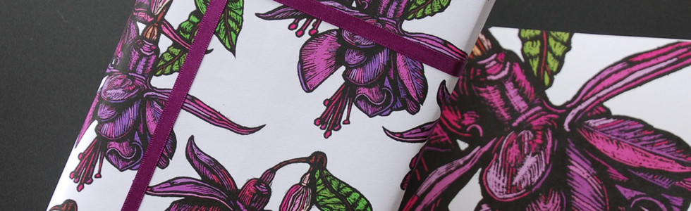 Fuchsia Gift Wrap and Card