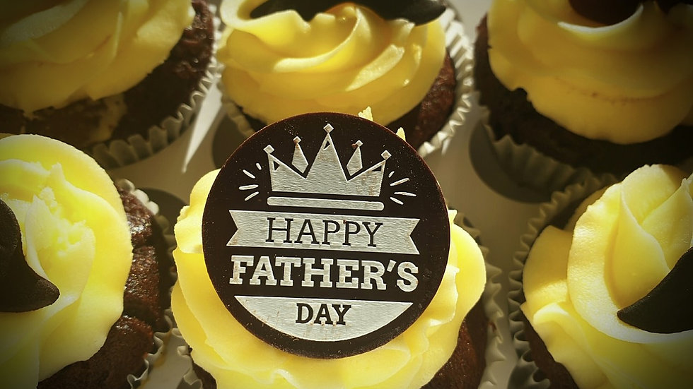6x Fathers Day Cupcakes - Standard range Vanilla or Chocolate