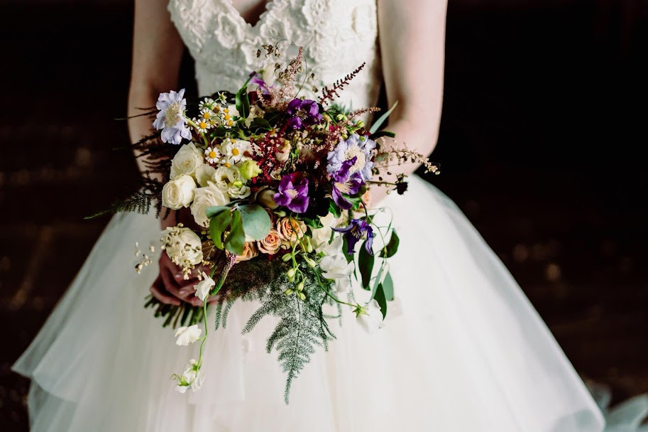 multicoloured bridal bouquet