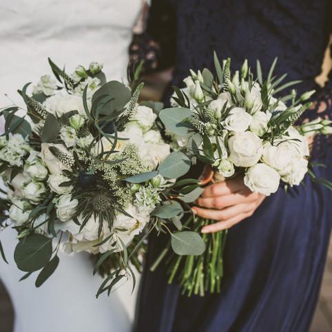bridal bouquet and bridesmaid bouquet