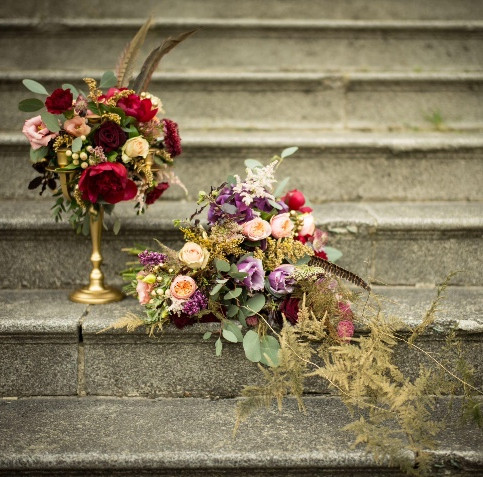 candelabra and bridal bouquet