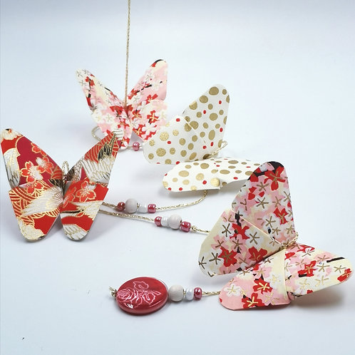 MissDyne : Guirlande origami papillon rouge
