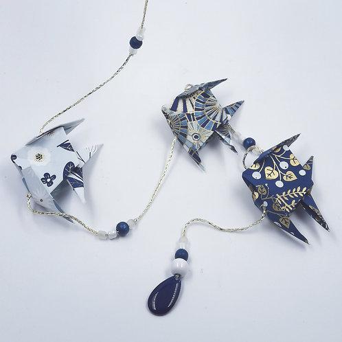 MissDyne : Guirlande Origami poisson Bleu et doré