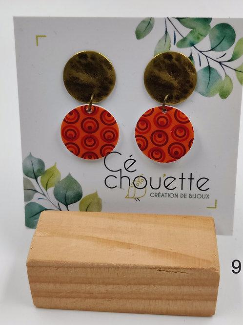 Cé Chouette : Boucles d'oreilles à puces  PVC/Bronze/Laiton/Cuir