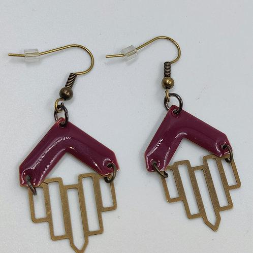 By Cilou : Boucles d'oreilles bronze et mauve