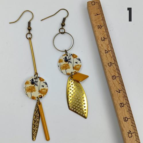Cé Chouette : Boucles d'oreilles PVC /Bronze/Laiton / cuir