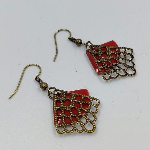 By Cilou : Boucles d'oreilles bronze et rouge