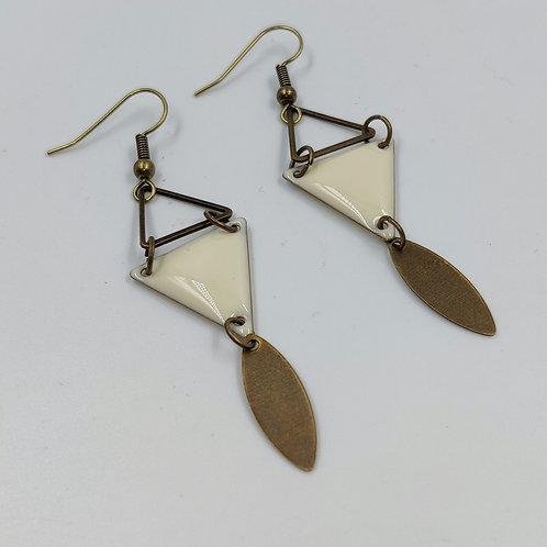 By Cilou: Boucles d'oreilles bronze et blanc cassé