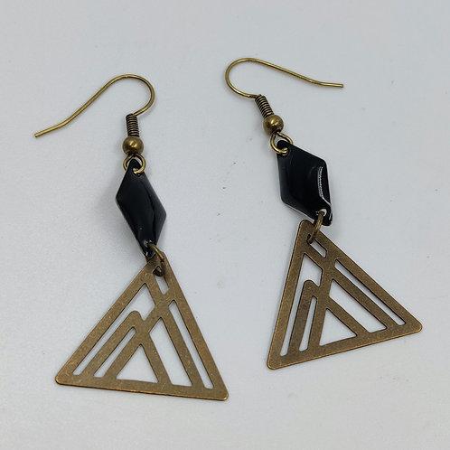 By Cilou : Boucles d'oreilles bronze et noir