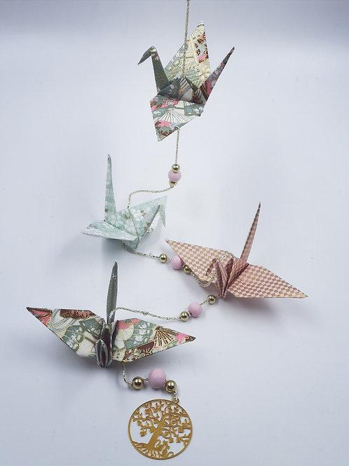 MissDyne : Guirlande origami grue verte et rouge
