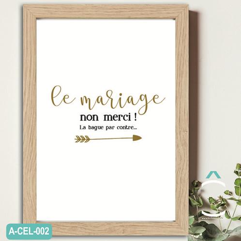 Méli -Mélo Cadre – Le mariage non merci! La bague par contre…