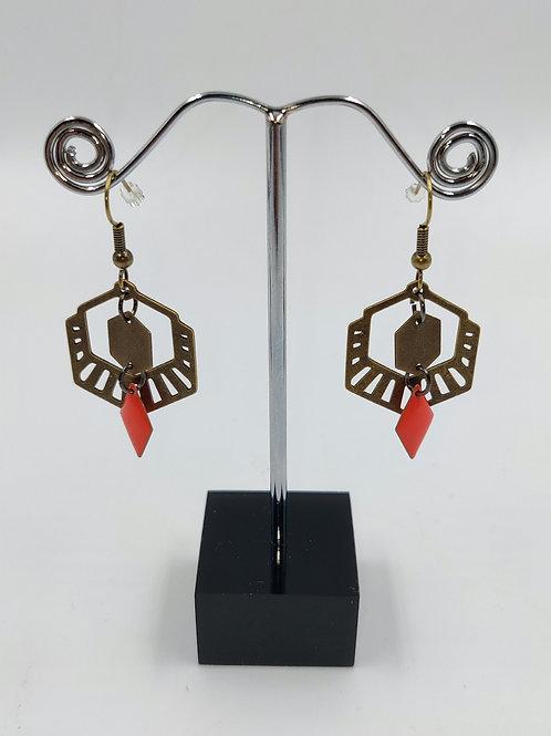 By Cilou : Boucles d'oreilles bronze et orange