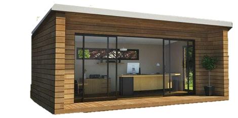 bureau de jardin avec bardage bois