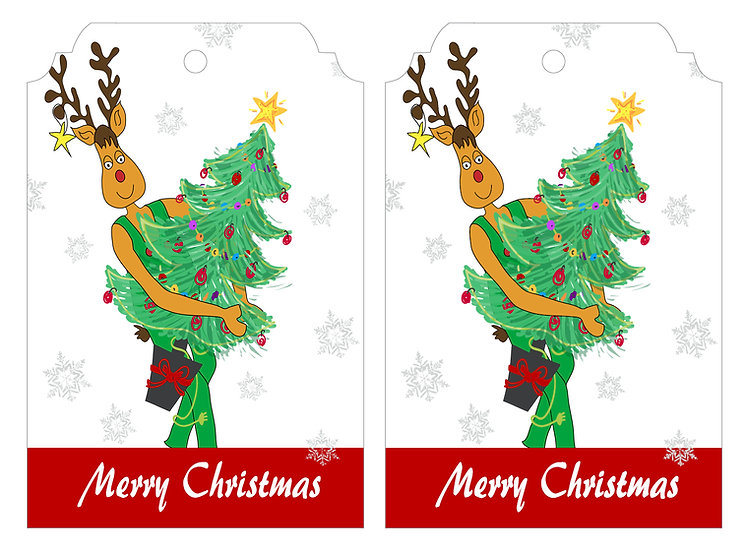 Rudolph & Xmas Tree - Gift Tag Pack