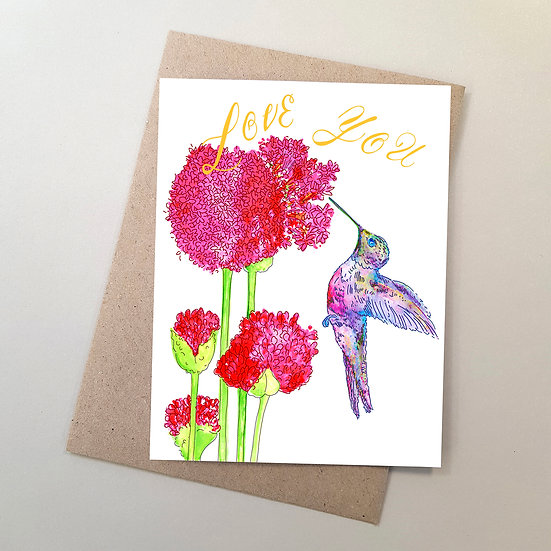 Love You Hummingbird + Alliums Flowers