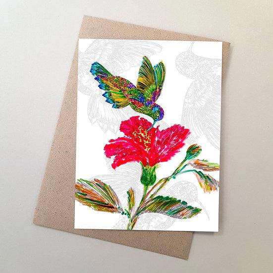 Hummingbird + Pink Flower