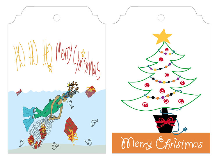 Rudolph Swimming  & Tree   Gift Tag Pack