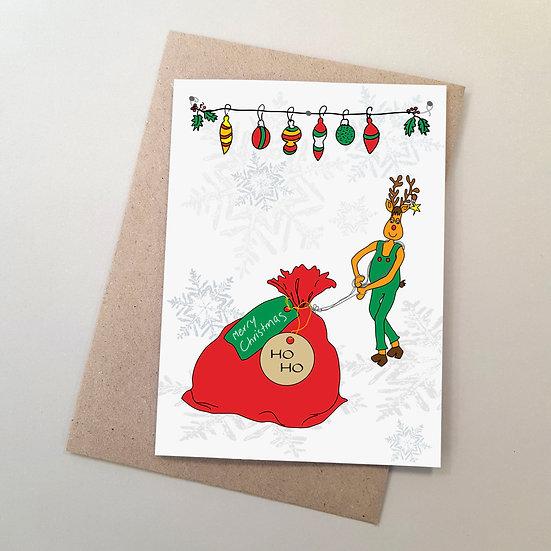 Whimsical Rudolph & Santa Sack
