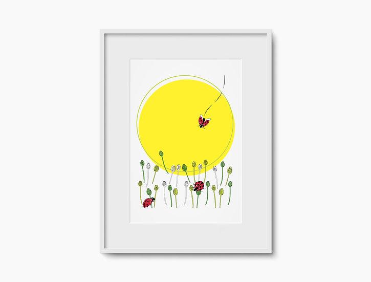 Ladybirds Yellow Sun Print