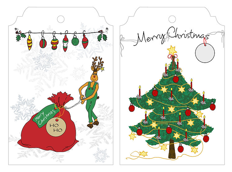 Rudolph Santa Sack & Xmas Tree - Gift Tag Pack