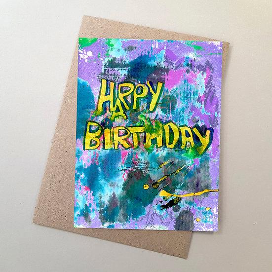 Happy Birthday - Graffiti Yellow