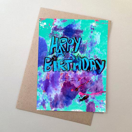 Happy Birthday - Graffiti Aqua