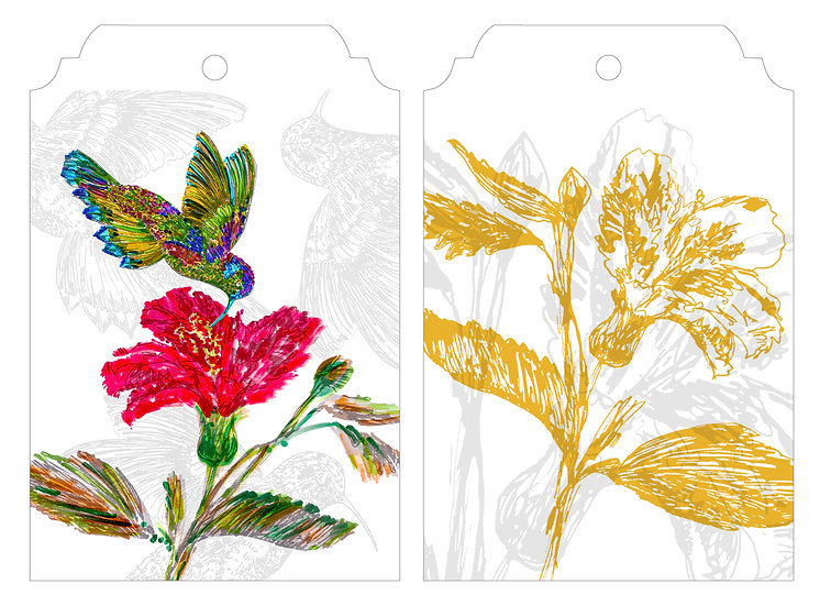 Hummingbird & Gold Flower   Gift Tag Pack