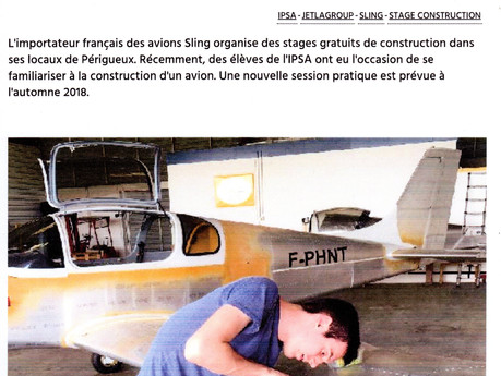 Article AEROBUZZ, stage de construction.