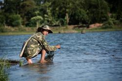 Local Lao Net-throwing Fisherman