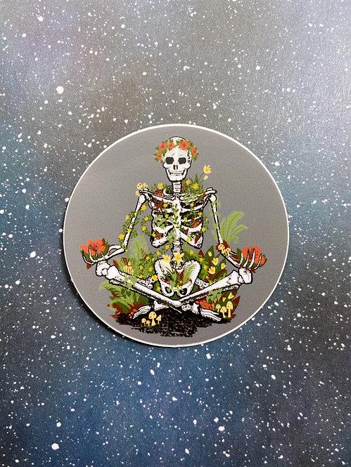 """Vinyl Decal - """"Growing Inside"""" Skeleton with Flowers"""