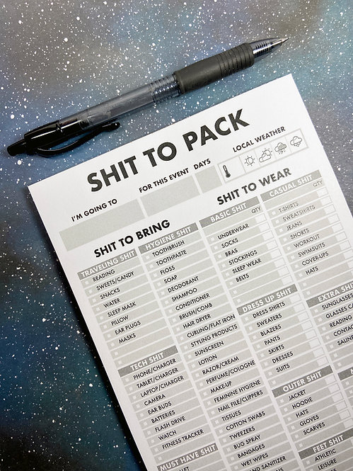 Stationery - Shit List - Pack List - The Red Swan Shop