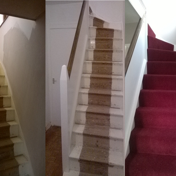 Painted staircase before and after.