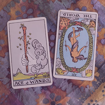 Two Rider Waite Smith tarot cards, the Ace of Wands and the World