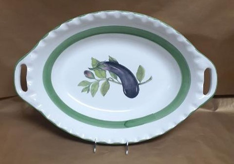"23"" Eggplant Deep Oval Bowl With Handles"
