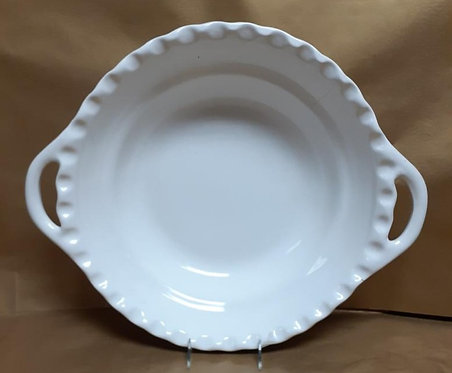 """16.5"""" White Deep Round Bowl With Handles"""