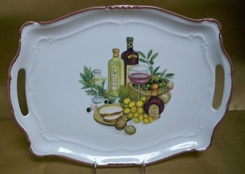 "16.5"" Stagione Venere Balsamica Rectangular Shallow Platter With Handles"