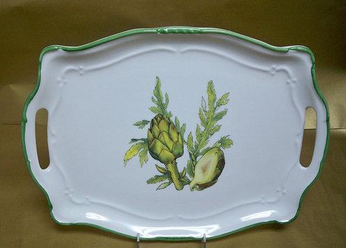 "16.5"" Artichoke Venere Rectangular Shallow Platter With Handles"