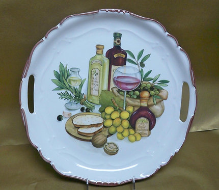 """14.5"""" Stagione Venere Balsamica Round Shallow Platter With Handles"""