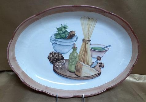 "16"" Pesto Oval Shallow Platter"