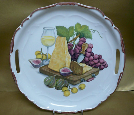 "14.5"" Stagione Venere Reggiano Round Shallow Platter With Handles"