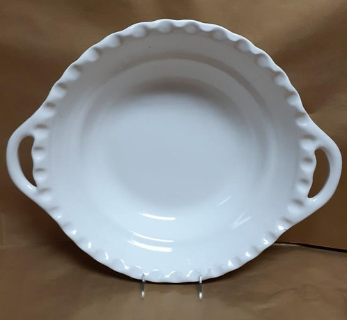 "19.5"" White Deep Round Bowl With Handles"