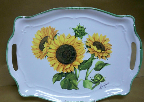 "16.5"" Girasole Venere Shallow Rectangular Platter With Handles"