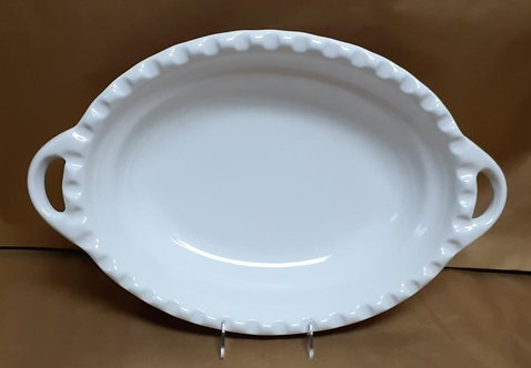 "19.5"" White Deep Oval Bowl With Handles"