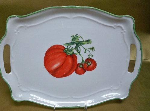 "16.5"" Tomato Venere Rectangular Shallow Platter With Handles"