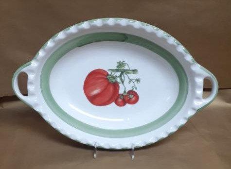 "19.5"" Tomato Deep Oval Bowl With Handles"