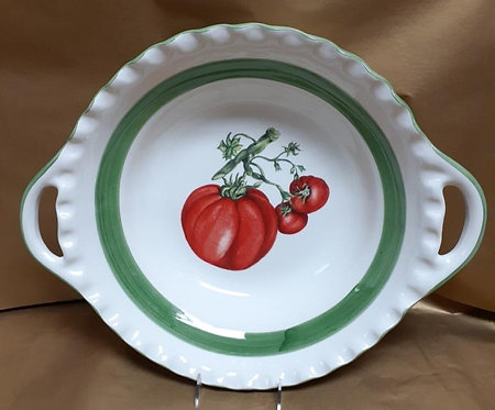 "19.5"" Tomato Deep Round Bowl With Handles"