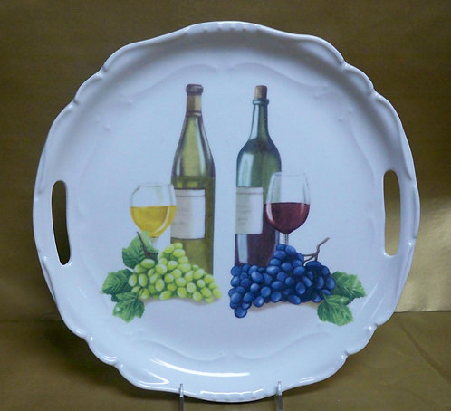 "14.5"" Vini Venere Round Shallow Platter With Handles"