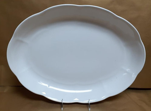 "16"" White Shallow Oval Platter"