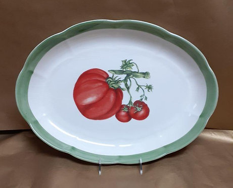 "18"" Tomato Shallow Oval Serving Platter"