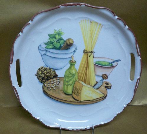 "14.5"" Stagione Venere Pesto Round Shallow Platter With Handles"